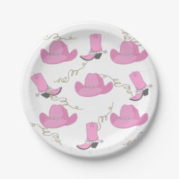 Western Pink Cowboy Boots And Hats Cowgirl Party Paper Plate  sc 1 st  Zazzle & Cowboy Hat Plates | Zazzle