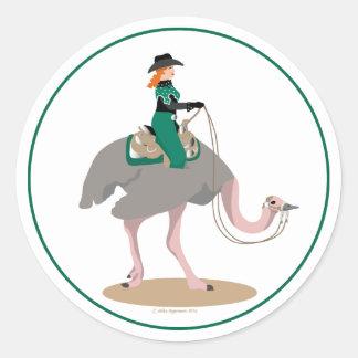 Western Pleasure Ostrich Classic Round Sticker