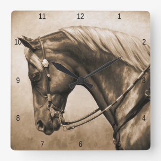 Western Pleasure Quarter Horse in Sepia Square Wallclock