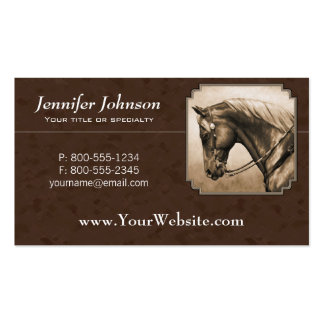 Western Pleasure Quarter Horse in Sepia Double-Sided Standard Business Cards (Pack Of 100)
