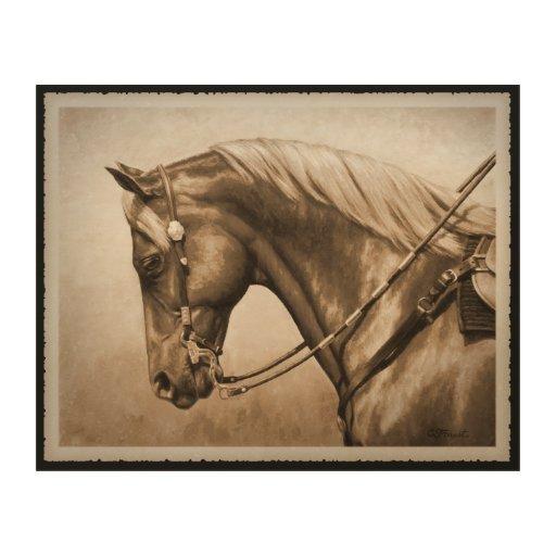 Wood horse wall decor : Western pleasure quarter horse in sepia wood wall art zazzle