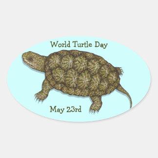 Western Pond Turtle Oval Sticker