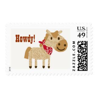 Western Pony wearing bandana howdy! greetings - Postage