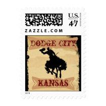Western Poster Cowboy Fun Dodge City Kansas KS Cow Postage