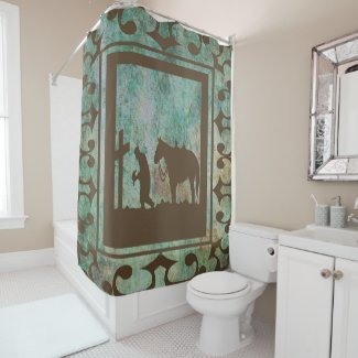 A Western shower curtain with praying cowboy and horse