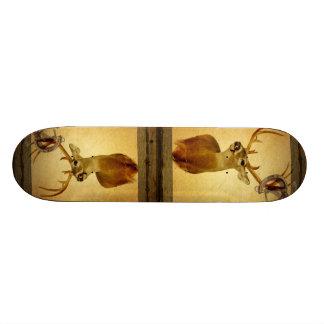Western Primitive barn wood buck white tail deer Skateboard