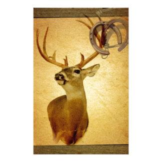 Western Primitive barn wood buck white tail deer Stationery