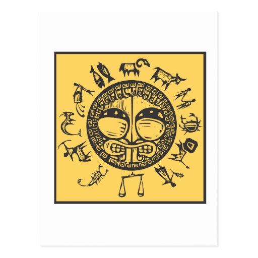 Western Primitive Zodiac #4 Postcard