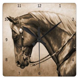 Western Quarter Horse in Sepia Square Wallclock