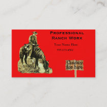 Western Ranch Cowboy On Horse Business Card