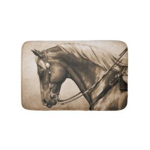 Western Ranch Horse Old Photo Sepia Bath Mat