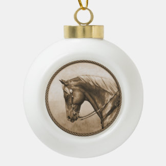 Western Ranch Horse Old Photo Sepia Ceramic Ball Christmas Ornament