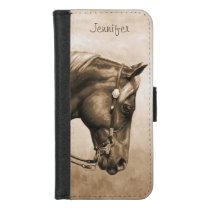 Western Ranch Horse Old Photo Sepia iPhone 8/7 Wallet Case