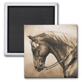 Western Ranch Horse Old Photo Sepia Magnet