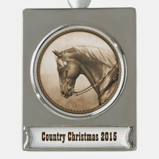 Western Ranch Horse Old Photo Sepia Silver Plated Banner Ornament