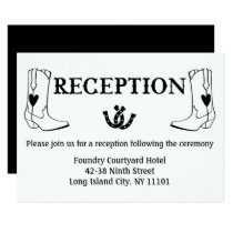 Western Reception Cowboy Boots Country Wedding Invitation