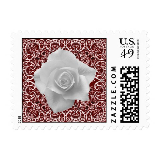 Western Red Bandana White Rose Stamps