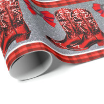 Western Red Cowboy Boots  Plaid Wrapping Paper