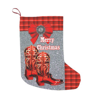 Western Red Cowboy Boots With Plaid Small Christmas Stocking