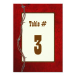 Western Red Leather Wedding Reception Table Number 4.5x6.25 Paper Invitation Card