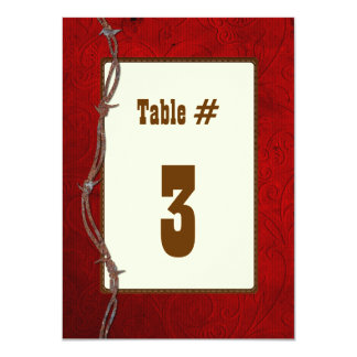 Western Red Leather Wedding Reception Table Number Card