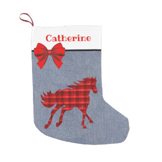 Western   Red Plaid Horse On  Faux Denim Small Christmas Stocking