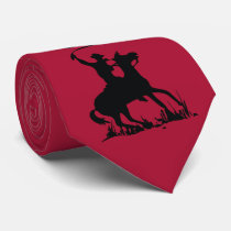 Western Red with black Cowboy on Horse with Whip Tie