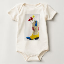Western Red Yellow Blue Cowboy Boot Horse Rodeo Baby Bodysuit
