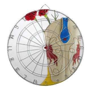 Western Red Yellow Blue Cowboy Boot Horse Rodeo Dartboard