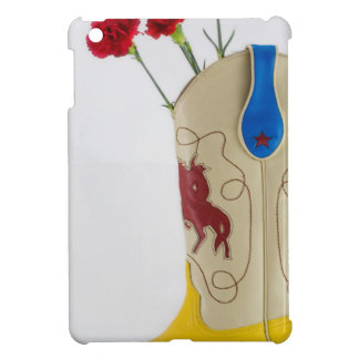 Western Red Yellow Blue Cowboy Boot Horse Rodeo iPad Mini Covers