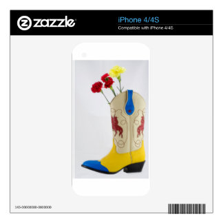 Western Red Yellow Blue Cowboy Boot Horse Rodeo Skins For iPhone 4