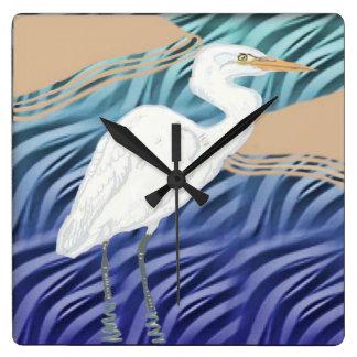 Western Reef Heron Square Wall Clock