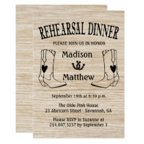 Western Rehearsal Dinner Cowboy Boots Wedding Invitation