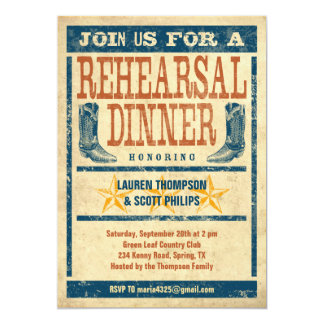 "Western Rehearsal Dinner Invitations 5"" X 7"" Invitation Card"