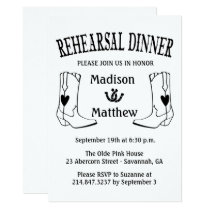 Western Rehearsal Dinner Wedding Cowboy Boots Invitation