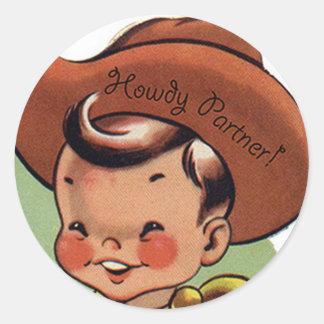 Western Retro Lil' Cowboy Howdy Partner Stickers