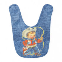 Western Retro Little Cowboy With Rope Baby Bib