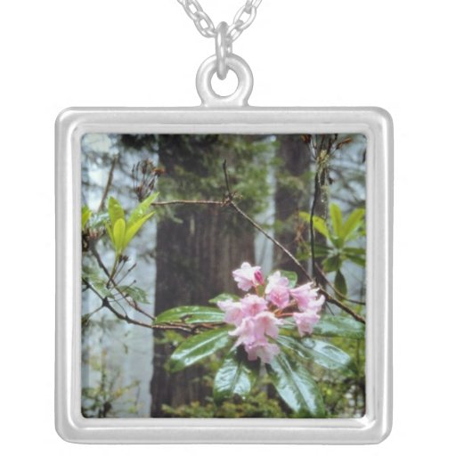 Western rhododendrons, Lady Bird Johnson Grove Square Pendant Necklace