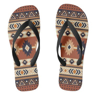Aztec Themed Western Rider Flip Flops