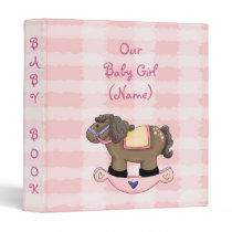 Western Rockin Horse Girl Baby Book Album Avery Bi 3 Ring Binder