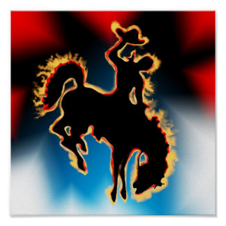 Western Rodeo Bucking Bronco Horse and Cowboy Poster
