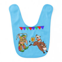 Western Rodeo Bull Rider And Rodeo Clown Bib