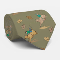 Western Rodeo Bull Riders And Cowboy Hats Necktie
