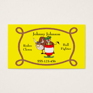 Western Rodeo Clown And Bull Business Card