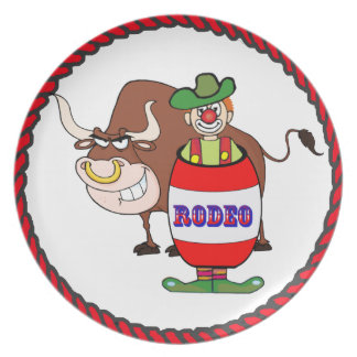 Western Rodeo Clown and Bull Dinner Plate