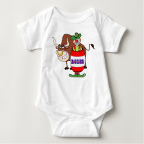 Western Rodeo Clown In Barrel And Bull Cartoon Baby Bodysuit