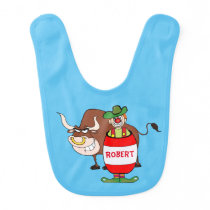 Western Rodeo Clown In Barrel And Bull Personalize Baby Bib