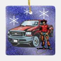 Western Rodeo Cowboy And Truck Christmas Ceramic Ornament