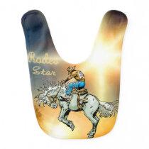 Western Rodeo Cowboy Bronc Rider Baby Bib