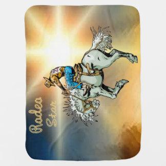 Western Rodeo Cowboy Bronc Rider Baby Blanket